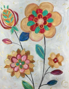 cork and canvas mettalic flowers