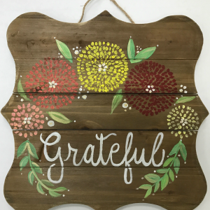 gather cork and canvas wood sign
